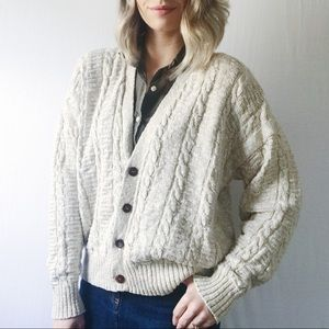 Oversized Grandpa Cable Knit England Cardigan